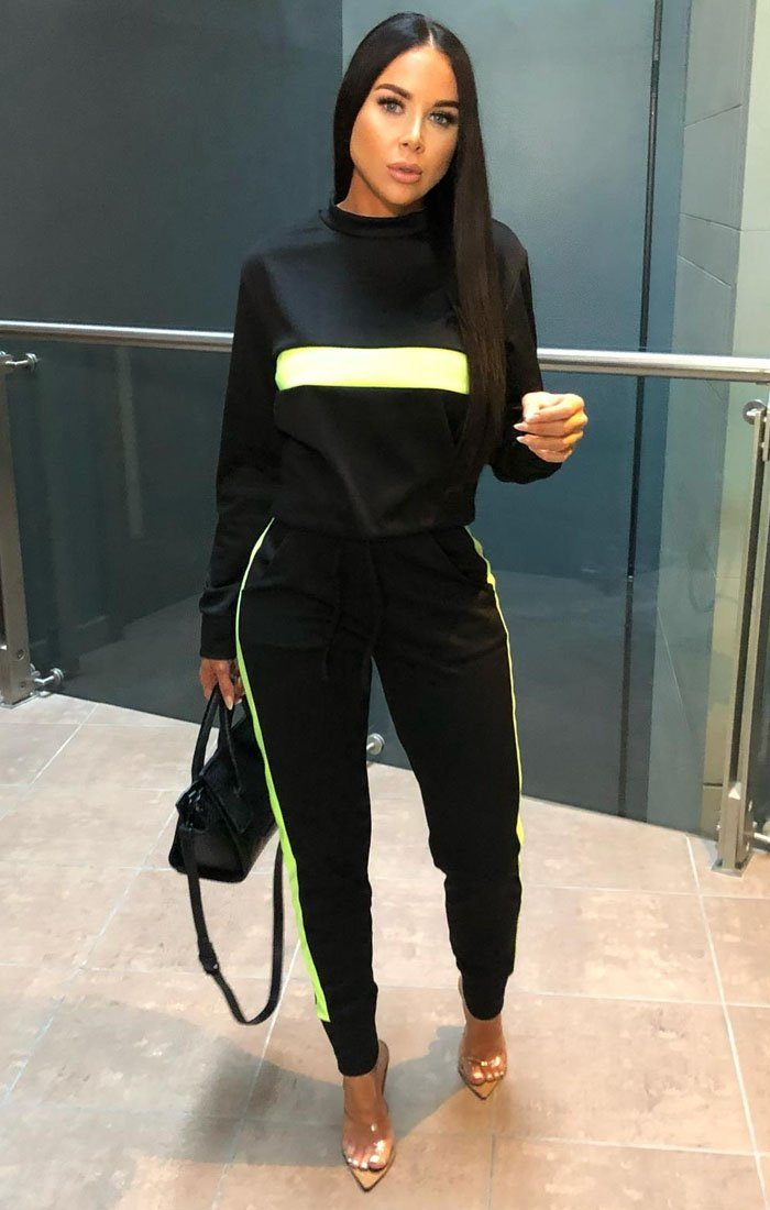 Black Neon Lime Stripe Loungewear Set - Kendall