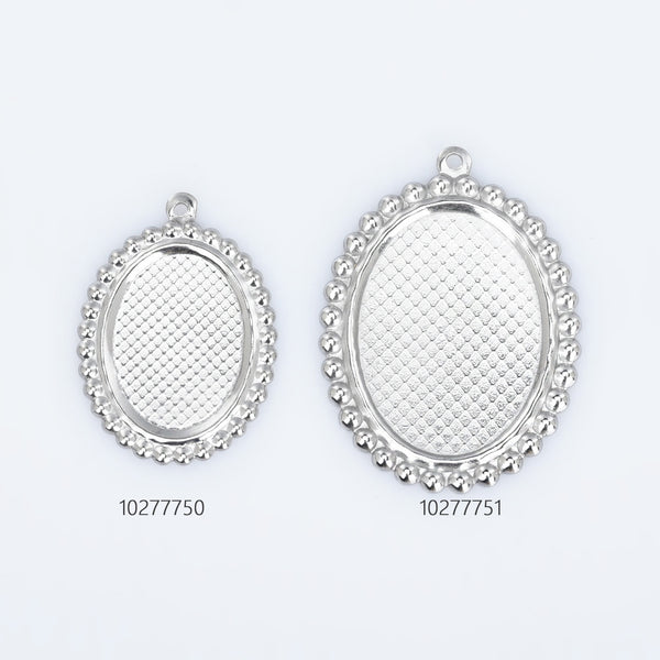 Stainless Steel Oval Blank Photo Pendant base Trays fit 13*18/18*25mm Cabochon Jewelry Pendants Charms 20pcs 102777