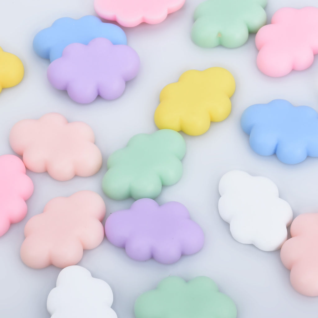 25*17mm Resin Cloud Cabochon Flatback Cloud Charm for Decoden Phone Case mixed color 30pcs 10280450