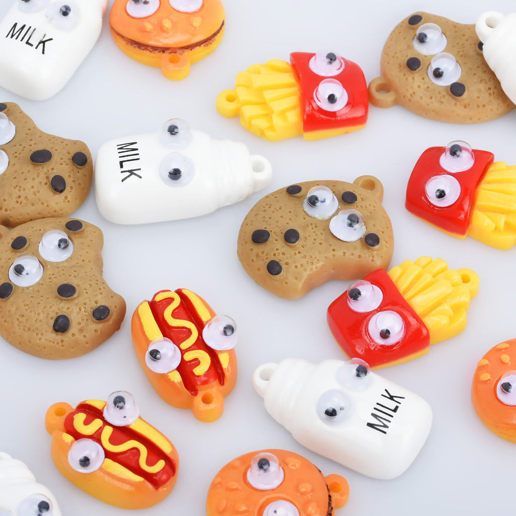 Random mixed grab bag Resin Kawaii Cabochons fake food Cookies Milk Bottle French fries Flatback Cabochons pendant accessories 10pcs 10280950
