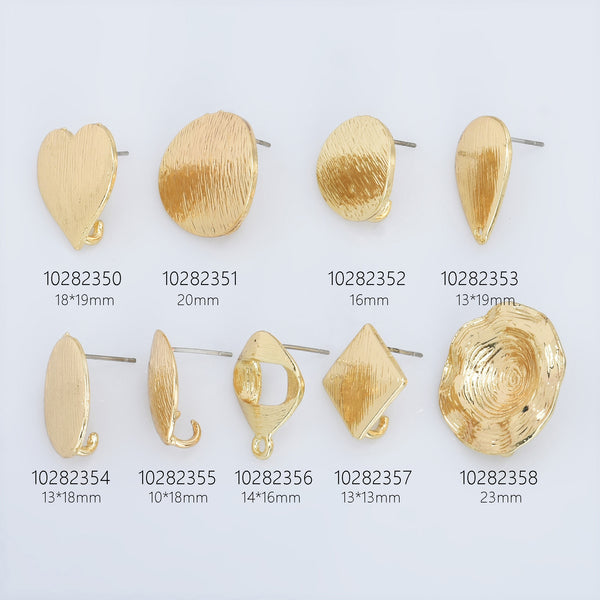Alloy Curved Post Earrings Findings Simple Connector Stud Ear Accessories DIY Making Jewelry Golden Plated 6pcs 102823