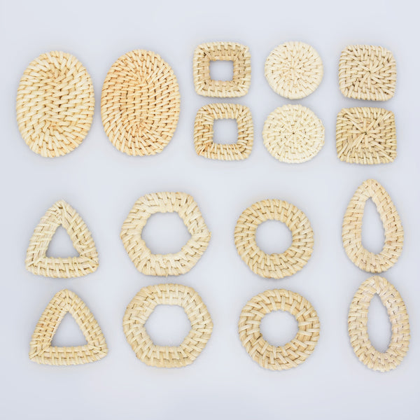 Natural Rattan Wood Earring Hoops Geometric shape Wooden Charms Handwoven diy Wooden Straw Earring 2pcs 102828