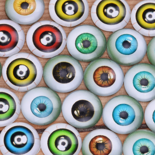 14MM Round colorful glass cabochons with mixed eyes,Photo glass cabochons,flat back,thickness 5mm,50 pieces/lot