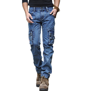 ABOORUN Men's Blue Cargo Jeans Multi Pockets Long Straight fit Denim Pants High Quality Men's Outdoor Casual Jeans x1648
