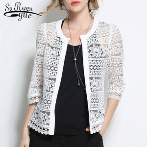 Plus Size 5XL Women Lace blouse shirt 2018 fashion white Cardigan shirt Summer tops Sexy Hollow lace women's clothing 883F 30