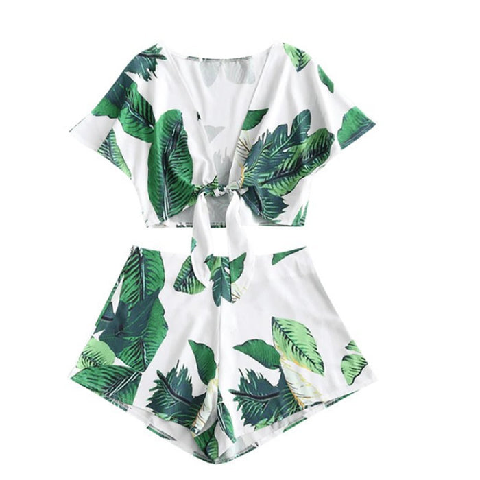 Summer Women 2 Pcs Set Bohemian Green Leave Printed Lace Up Crop Tops + Short Women Casual Set Boho Beach Wear Suit Backless