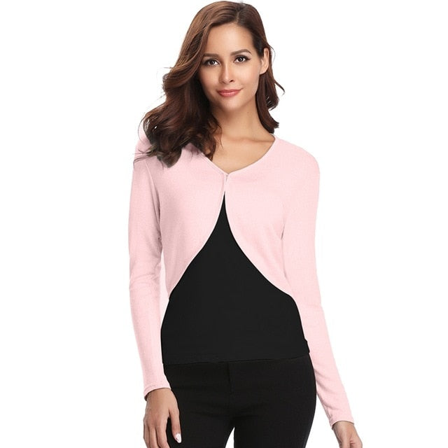 Abollria Female Knitted Cardigan Sweater Women Spring Simple Solid Long Sleeve Clothing Ultra Short Pink Women Top Slim Fit