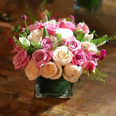 Tenderness Flower Arrangement - white pink roses - same day flower delivery and gift crate basket delivery Manhattan Midtown NYC New York 10019 10022
