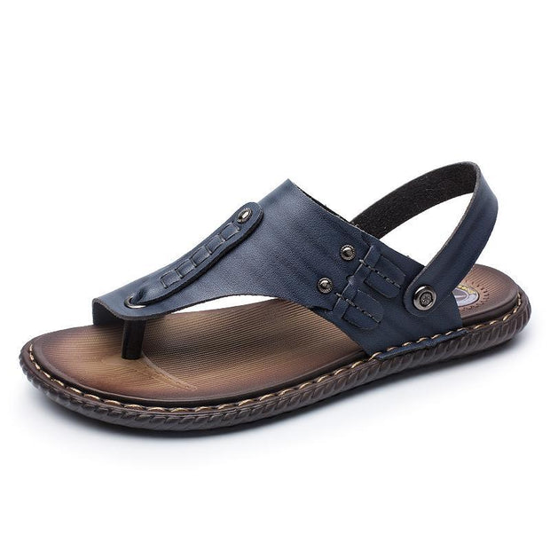 Pearlzone_Men's Open Toe Slippers with Adjustable Strap Buckle