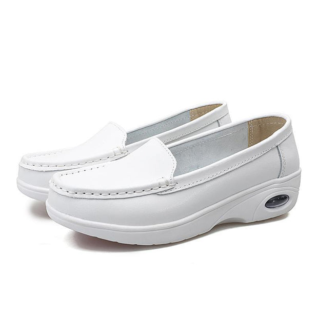 Pearlyo_Casual Women Loafers Cow Leather Round Head Girl White Shoes  118817
