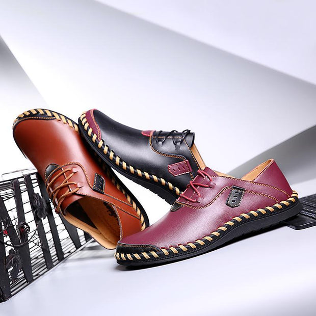 Men's Stitching Soft Sole Breathable Lace-up Driving Loafers