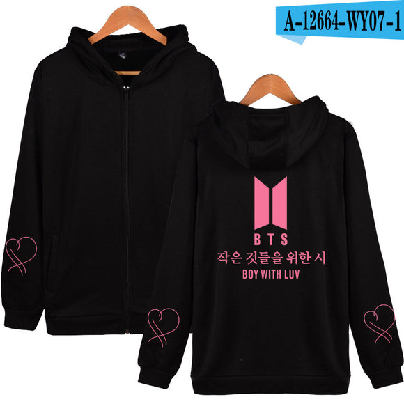 BTS Buy with Luv Zip Up Hoodie - Free WorldWide Shipping
