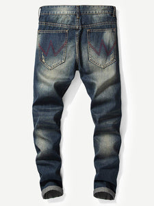 Men Rolled Hem Destroyed Jeans