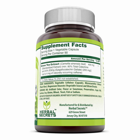 Herbal secrets Green Tea Extract Supplement with EGCG for Weight Loss 400 Mg 90 Capsules - Amazing Nutrition