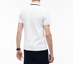 SS Graphic Pique Polo W/ Printed Croc Logo On Chest - Slim Fit (White)