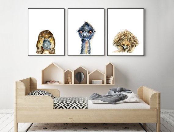 Australian Animal Art Prints, set of 3 prints -  choose from 6 animals