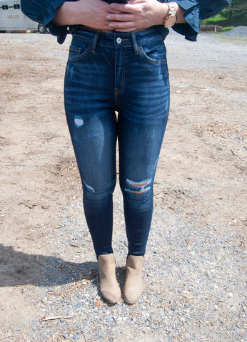 Kan Can Distressed Dark High Rise Jeans
