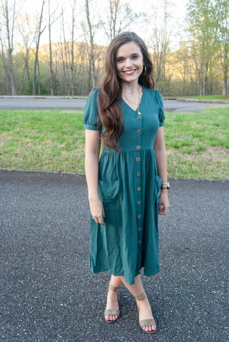 Sofia Midi Dress in Green