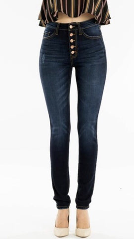 Button Front High Rise Jeans