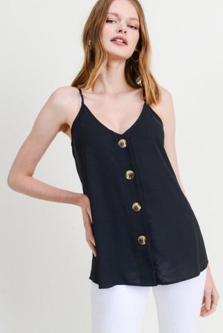 Button Down Embroidered Tank in Black