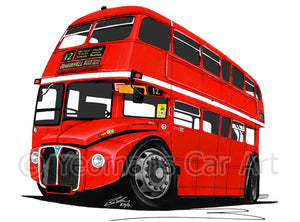 AEC Routemaster Bus - Caricature Car Art Print