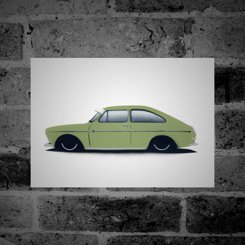 Volkswagen Type 3 Fastback (green) - Stencil Artwork