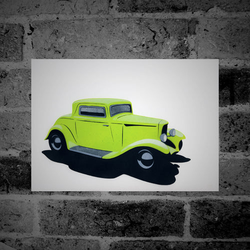 Ford Model A Coupe Hot Rod (green) - Stencil Artwork