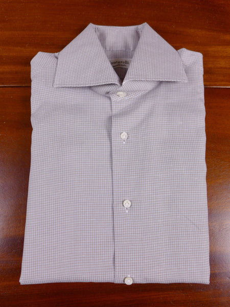 17/1096 santarelli sartoria luxury cotton & silk brown / blue micro-check double cuff shirt 17 short