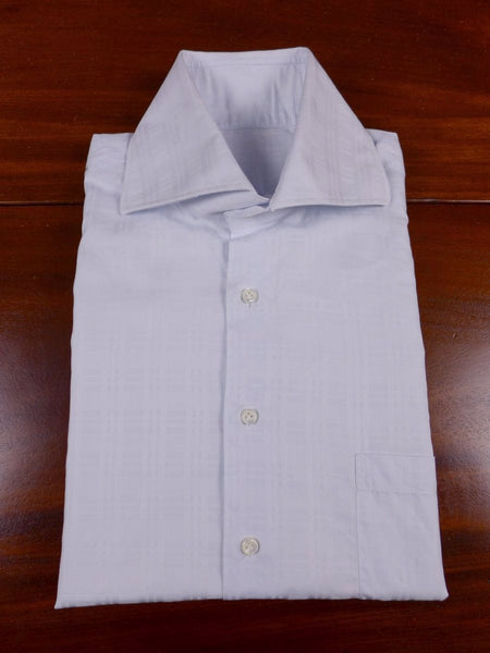 17/1789 santarelli sartoria luxury pale blue textured check cotton double cuff shirt 16.5 short