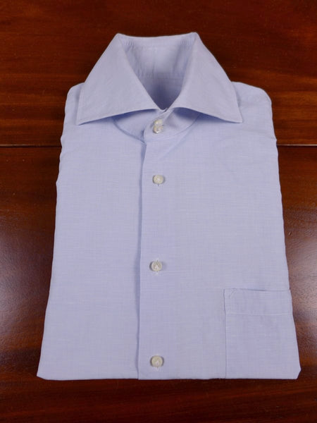 17/1788 santarelli sartoria luxury pale blue linen & cotton double cuff shirt 16.5 short
