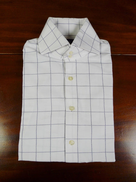 19/0796 hawes & curtis white / dark navy blue graph check slim fit single cuff 100% cotton shirt large