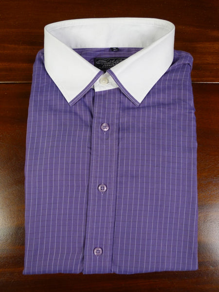 19/0803 immaculate neal & palmer purple / white dealer check double cuff super fine cotton shirt 18
