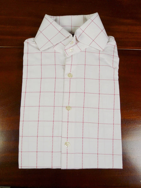 19/0800 hawes & curtis crimson graph check slim fit single cuff 100% cotton shirt large