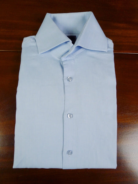 19/0799 hawes & curtis light blue herringbone double cuff 100% cotton shirt large