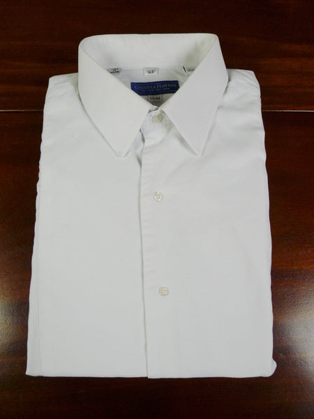 19/0798 gieves & hawkes savile row white marcella front double cuff 100% cotton dress shirt 17.5