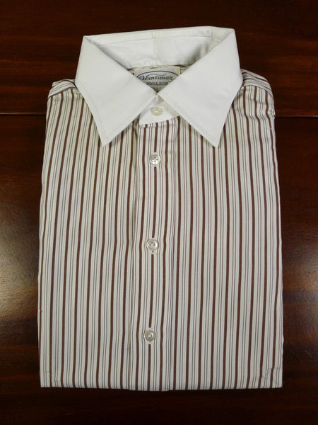 19/1046 immaculate vintage huntsman savile row bespoke white collar / brown stripe d/cuff cotton shirt 16