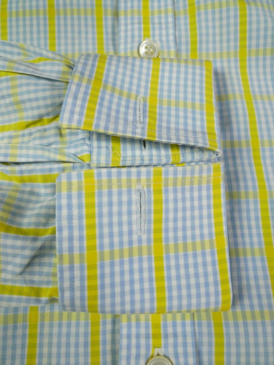 19/1052 immaculate frank rostron bespoke blue / yellow check d/cuff shirt 15.5