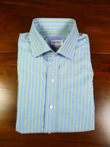 19/1064 immaculate emmett london GREEN & blue stripe COTTON  d/cuff shirt  (rrp £165) 17.5