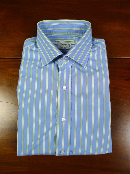 19/1063 immaculate emmett london GREEN & blue stripe COTTON  d/cuff shirt  (rrp £165) 17.5