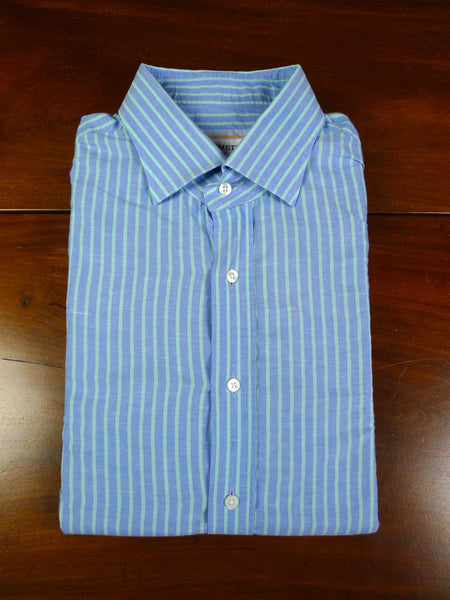 19/1060 immaculate emmett london BLUE / GREEN STRIPE COTTON &  linen shirt  (rrp £195) 17.5