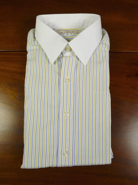 19/1050 IMMACULATE FRANK ROSTRON bespoke blue & yellow stripe dealer d/cuff shirt 16