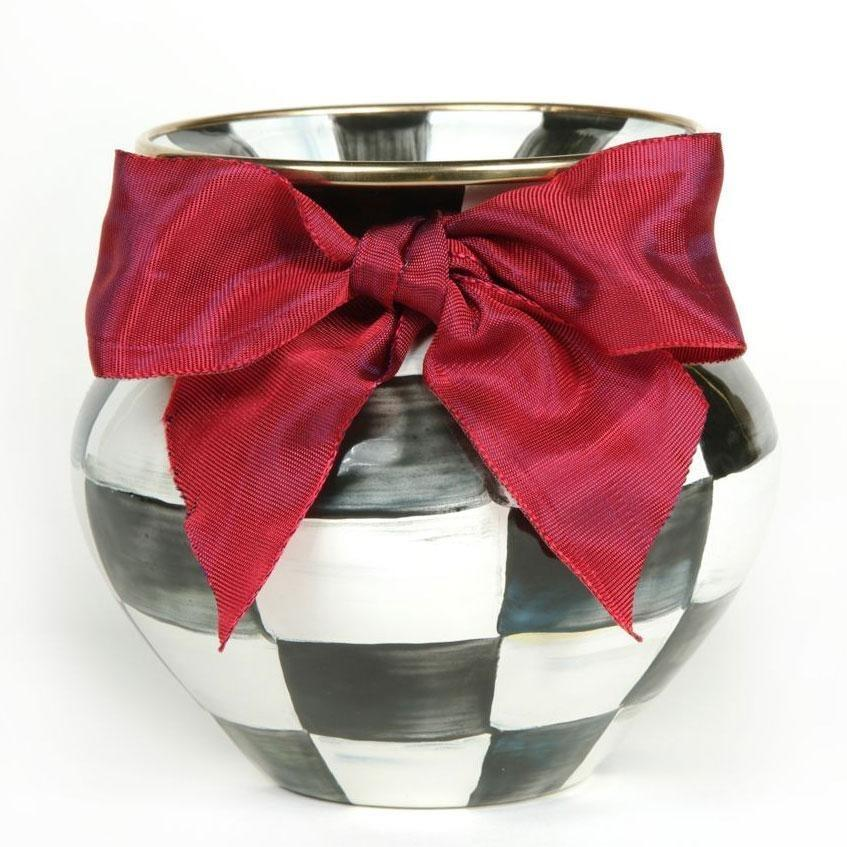 MacKenzie Childs Courtly Check Vase Red Bow