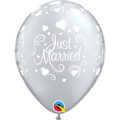 Just Married Hearts  Silver Latex Balloons