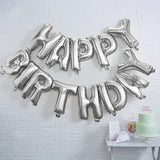 Pick & Mix Silver Happy Birthday Foil Balloon Bunting