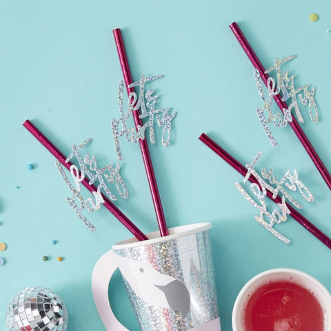 Good Vibes Straws Hot Pink