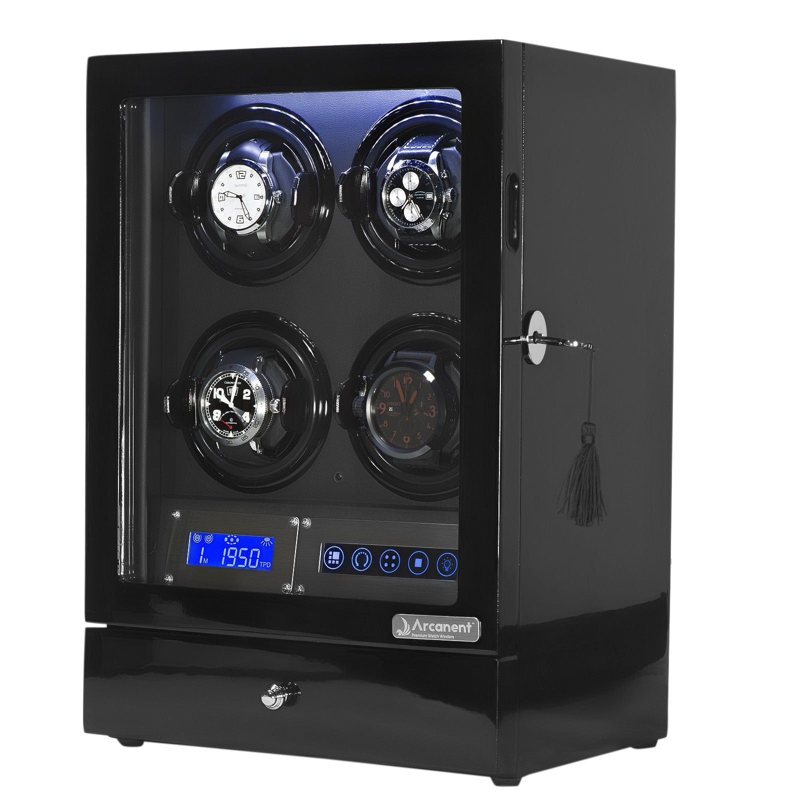 Arcanent Watch Winder 4 + 2 Slot Black LCD Digital Quality Made With Ball Bearings-Luxury Watches | Mens And Ladies Luxury Watches | Upscale Time