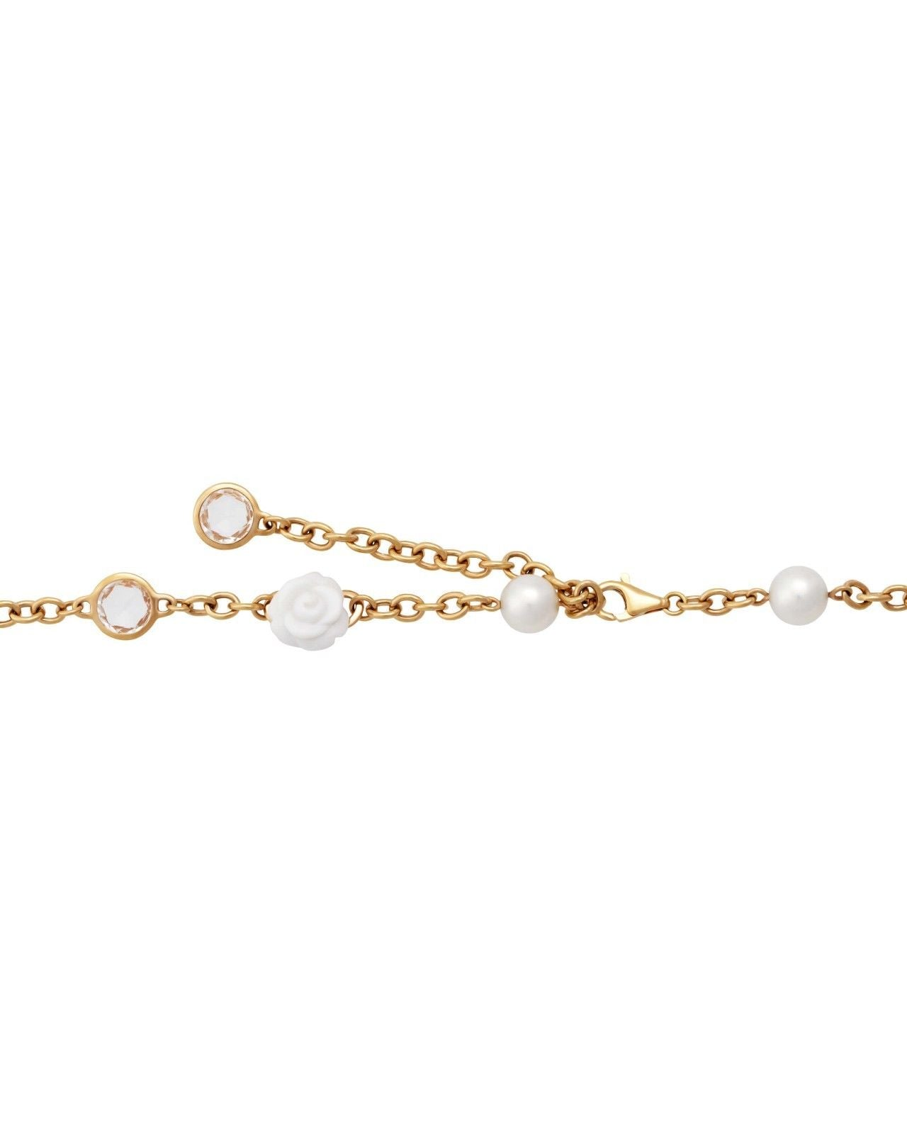 Mimi Milano Necklace In Rose 18K Gold Agate, Rock Crystal Pearls C191R1A1J