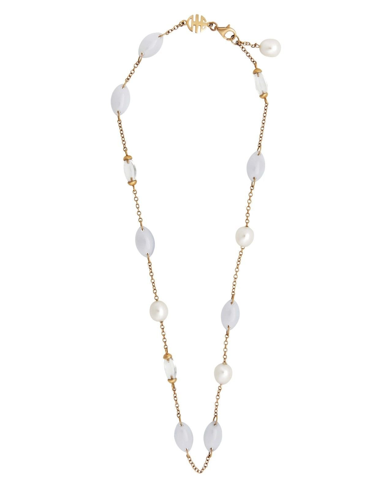 Mimi Milano Necklace In 18K Rose Gold, Chalcedony White Pearls c153r120j