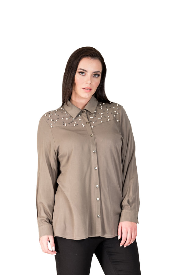 Pearl Detailed Cotton Shirt