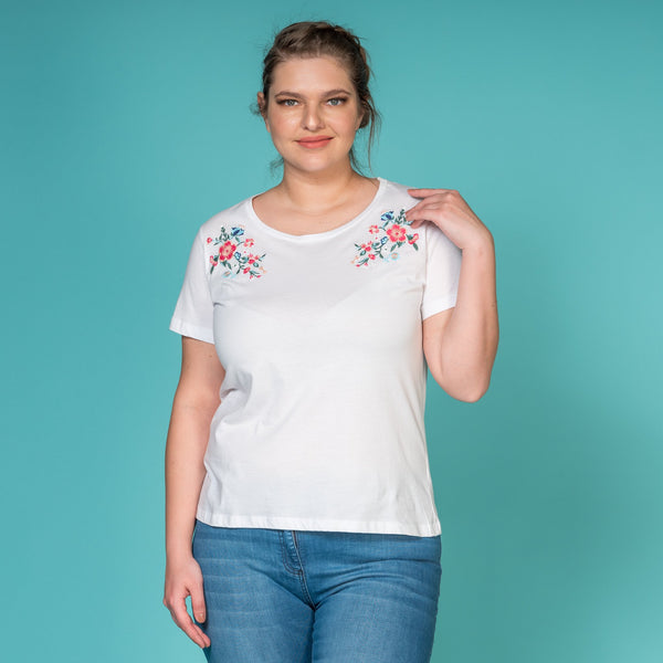 Flower Embroidered Shoulder Detailed Cotton T-Shirt